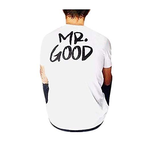 Dasongff Pärchen T-shirt Mr & Mrs partnerlook coupé shirt geschenken voor paren in verschillende Kleuren: X-Large wit/heren.