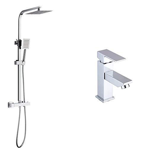 DP Grifería SD31006 Set de ducha con grifo termostático + Grifo monomando de lavabo, color plateado, serie Arce