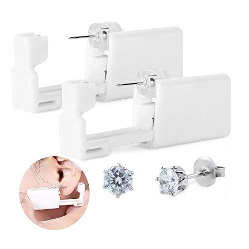 Einweg Sicherheit Body Nase Lippe Nabel Ohr Piercing Gun Pierce Stanz Werkzeug Beauty Kit mit Krone weiß Stahl Ohr Ohrstecker Asepsis (2 Stück)