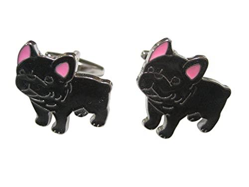 Kiola Designs Black Toned French Bulldog Cufflinks
