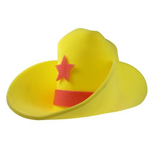 Monsterzeug XXL Cowboyhut gelb, Cowboyhut Karneval, Westernhut Schaumstoff, Faschingkostüm Cowboy, Cowboyhut Herren und Damen, Lustiger Hut