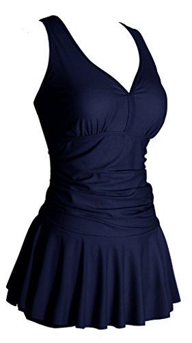 Grosse Groessen Figurformender Damen Badeanzug Einteilige Badebekleidung mit Rueckchen Bedekleid, Gr. DE 46 / Etikettengroeߥ 5XL