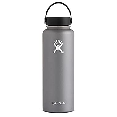 Hydro Flask 40 oz Double Wall Vacuum Insulated Stainless Steel Leak Proof Sports Water Bottle, Wide Mouth with BPA Free Flex Cap, Graphite
