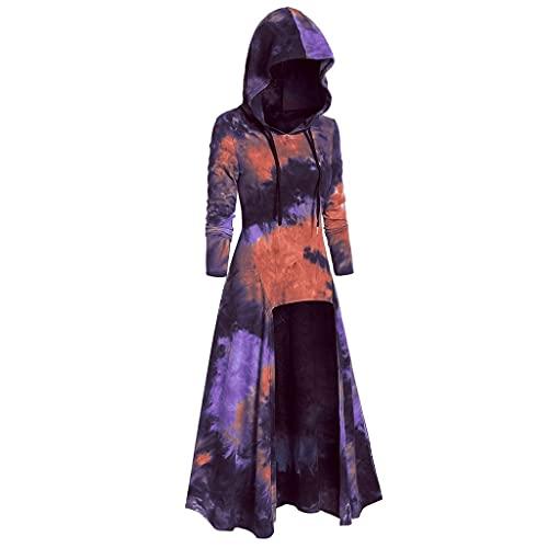 Aiserkly – Capa con capucha para mujer, blusa de manga larga, estampado en espiral, de alta calidad, para Halloween, cosplay, carnaval, disfraces, suéter X-rojo. M