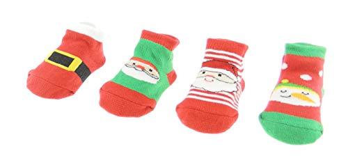 Glamour Girlz Lot de 4 paires de chaussettes de Noël pour bébé fille et garçon