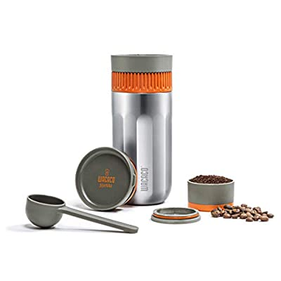 WACACO Pipamoka Portable Coffee Maker, Single Serve Coffee brewer, All-in-one Vacuum Pressured,Insulated Travel Mug, Hand Powered and Filter Pressure Brewer, Stainless Steel Thermo Cup, 10 fl oz