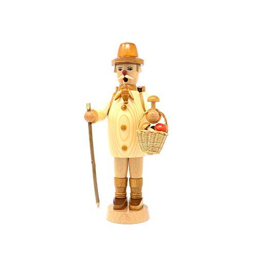 Drechslerei Friedbert Uhlig 011/n - Figura de trabajador del bosque con cesta, madera natural, 25 cm de alto, torneada, hecha a mano de los Montes Metálicos, Navidad, arte de madera, madera auténtica)