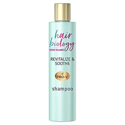 Hair Biology Meno Balance Revitalize & Soothe Shampoo, Für Dünner Werdendes Und Trockenes Haar, Mit Pro-V, Vitamin B3 Und Weißem Tee, Haarausfall Wechseljahre, Shampoo Damen, Ohne Farbstoffe, 250 ml
