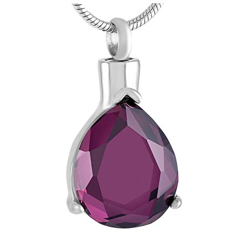 Memorial Urn Pendant Necklace Clear, Purple Stone Inlay Memorial Urn Necklace Never Fade Stainless Steel Cremation Urns Pendant Jewelry Women Men