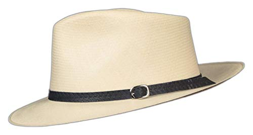 Embossed Patterned Leather Panama Hat Band (Black Weave .5')