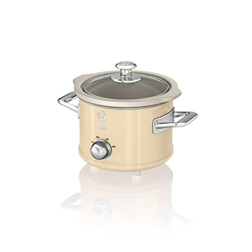 Swan Retro Cream 1.5 Litre Slow Cooker, 3 Temperature Settings, Keep Warm Function, Removable Ceramic Inner Pot, 32 Page Recipe Book, 120W, SF17011CN