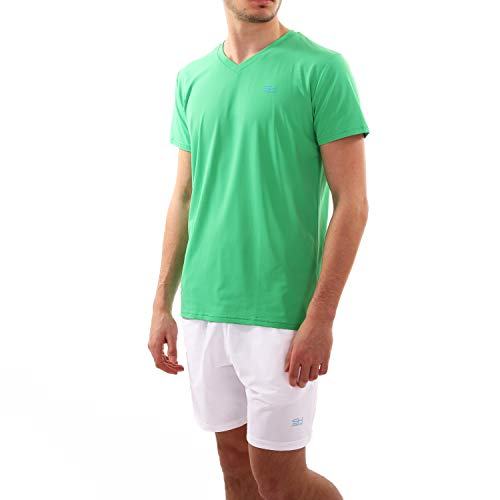 Sportkind Jungen & Herren Tennis, Running, Fitness T-Shirt V-Ausschnitt, atmungsaktiv, UV-Schutz UPF 50+, grün, Gr. XXL