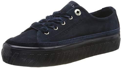 Tommy Hilfiger Damen Velvet LACE Flatform Sneaker, Blau (Midnight Cki), 40 EU