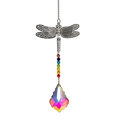 JelyArt Colgante de libélula con forma de hoja de arce, lámpara de...
