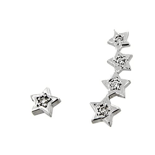 Pendientes diamantes estrella trepador oro blanco 18K [88-3607-B-P]