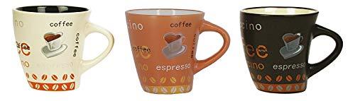 LOT DE 6 TASSES A CAFE 15CL EN GRES DECORS NOVA ASSORTIS