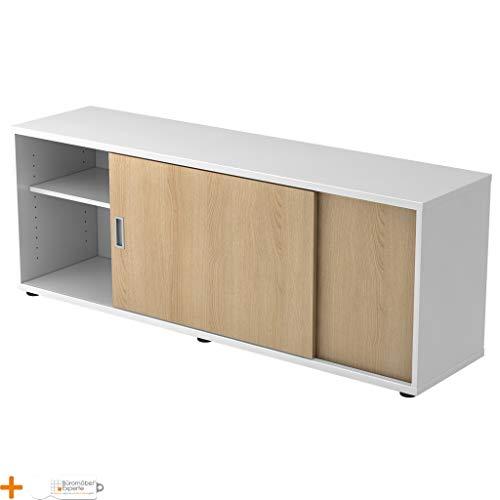 Bureaumeubel expert sideboard kantoorkast archiefkast 1 ordnerhoogte handvat houten deuren 2 planken Wit-eiken
