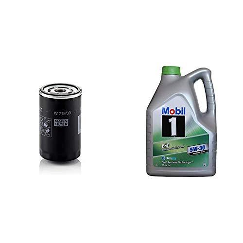 Original MANN-FILTER Ölfilter W 719/30 - Für PKW und Nutzfahrzeuge + Mobil Motorenöl 1 ESP 5W-30, 5L