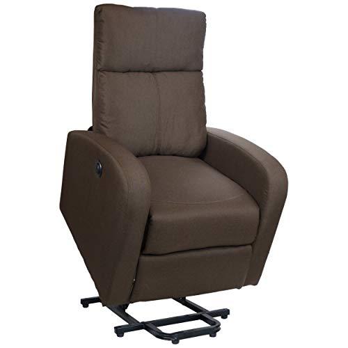 Totò Piccinni Poltrona Relax Reclinabile con Poggiapiedi Imbottita Confortevole (Alzapersona con Massaggio, Tessuto Marrone Chiaro)