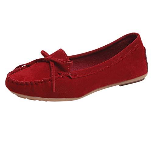 Große Größe Bootsschuhe für Mutter/Dorical Damen Mode Wildleder Mokassins Halbschuhe Schuhe,Frauen Komfort Pantoffeln Mit Krawatte Casual Slippers Gartenschuhe 35-43 EU(Rot,43 EU)