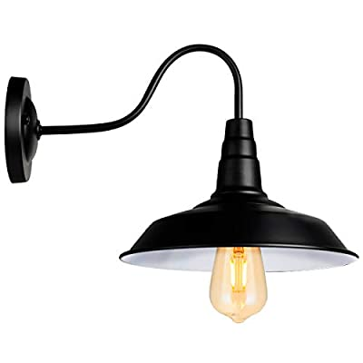 Black Wall Sconce Lighting Gooseneck Barn Wall Light Industrial Vintage Farmhouse Wall Lamp Led Porch Light for Indoor Bathroom