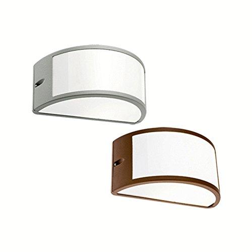 Lámpara de pared 'Umbe', estilo abierto Estructura de aluminio fundido a presión Tratamiento anticorrosivo, pintura en polvo epoxi Difusor de policarbonato opalino, reflector interno de aluminio Apta para luz incandescente y de ahorro