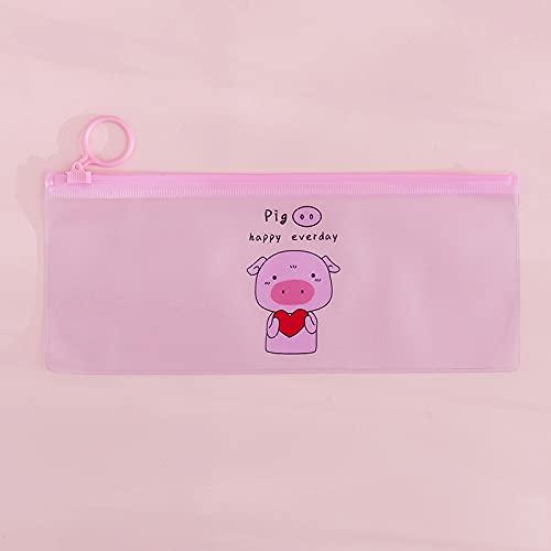 MRBJC Pennfodral – genomskinligt pennfodral med dragring förvaringspåse för skolmaterial, fakturor, fil, brevpapper, tillbehör rosa 18,8 x 9,3 cm