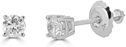 Amazon Collection AGS Certified 14k White Gold Round Cut Diamond Stud Earrings 1 1 2cttw K L product image