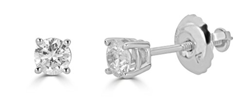 AGS Certified 14k White Gold Diamond Round-Cut Stud Earrings (1/4cttw, K-L Color, I1-I2 Clarity)