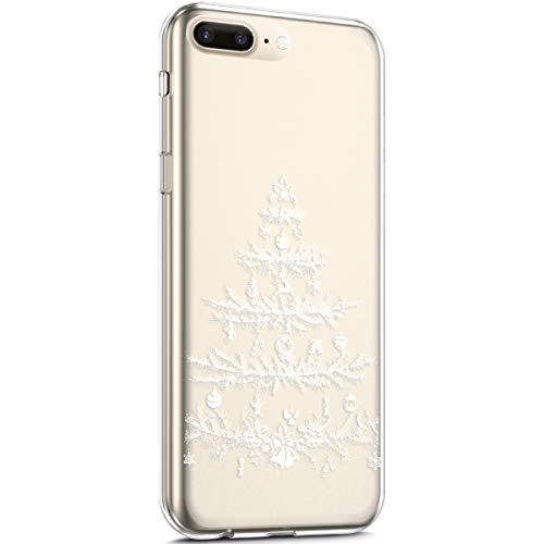 Surakey - Carcasa para iPhone 7 Plus y 8 Plus, diseño de Navidad navideño, transparente, flexible, protección contra golpes, funda transparente y suave de gel ultrafina para iPhone 7 Plus y 8 Plus