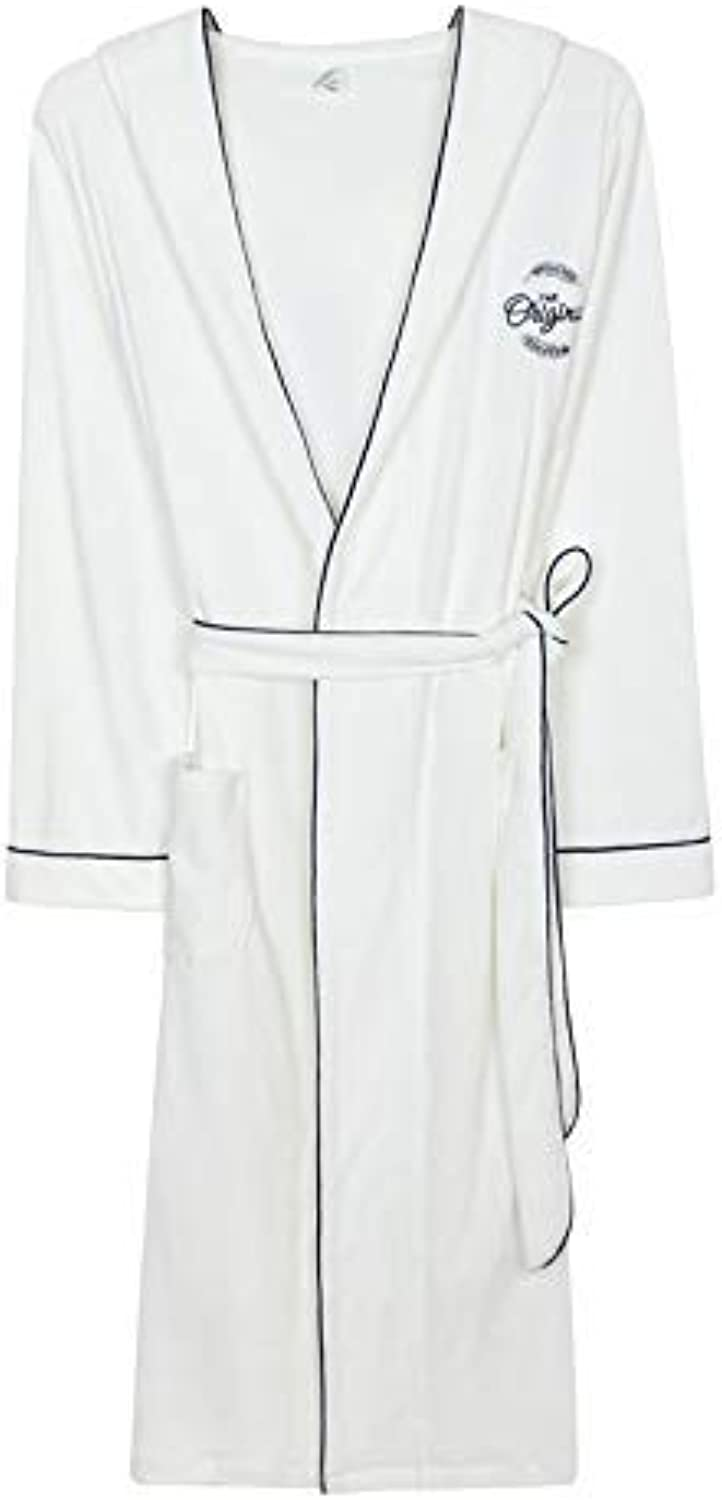 DALAI Spring and Autumn Couple Nightgown Female Summer Thin Section Cotton Towel White Youth Hooded Sweater Hotel Bathrobe Bathrobe (Size   XL) (Size   XLarge)