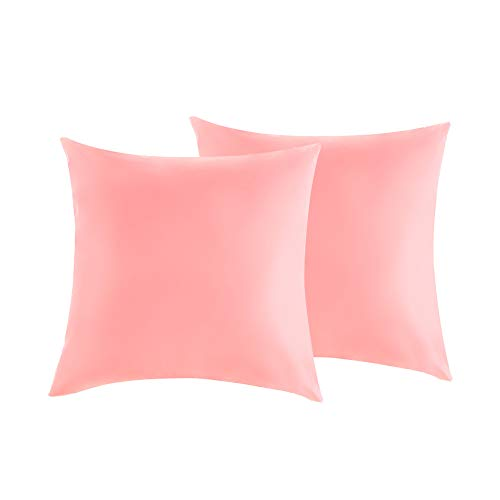 Outdoor Waterproof Throw Pillow Covers, Waterproof Cushion Case, Waterproof Cushion Cover, PU Coating Pillow Shell for Patio, Couch, Tent, Balcony and Sofa - 18 x 18 Inches - Pink