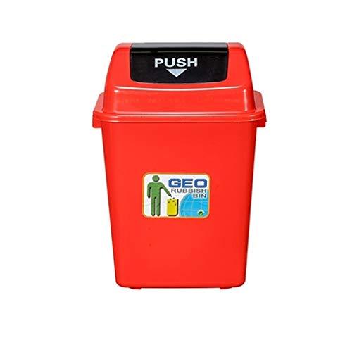 C-J-Xin Indoor Mülleimer, Kunststoff mit Deckel Schlafzimmer Mülleimer Patio Laub Sammlung Box verdicken Mülleimer Küche Haus Hohe Kapazität (Color : Red, Size : 40L)