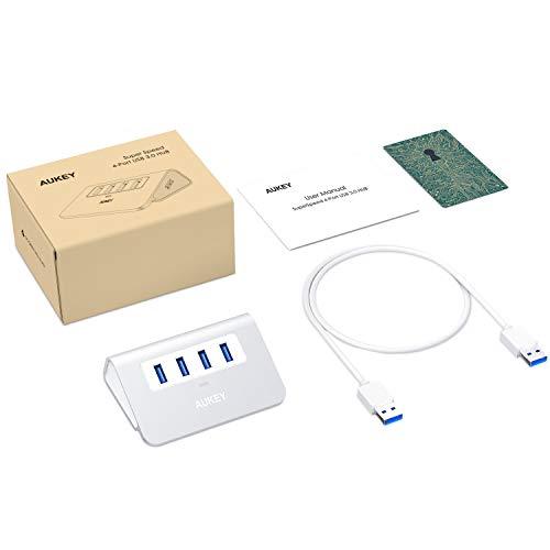 AUKEY USB 3.0 Hub 4 Port USB Hub 4 Port Super Speed 5Gbps Aluminum mit 100cm USB 3.0 Kabel und LED-Anzeige USB 3.0 Hub für Apple MacBook, MacBook Air, MacBook Pro, iMac und Weiteren Geräten