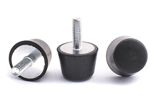 Preisvergleich Produktbild 10 Stck. Gummipuffer Gummimetallpuffer Typ KD-D konisch rund Ø 25 / 20 mm Höhe 12 mm einseitig Gewindestab M6x18 mm andere Seite geschlossen Shorehärte 55° Metall verzinkt