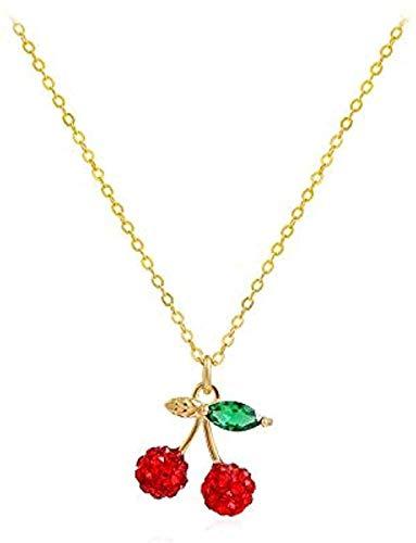 Yiffshunl Collar Rojo Cereza Fruta Collar Femenino Simple clavícula Cadena Colgante Collar niñas niños Regalo