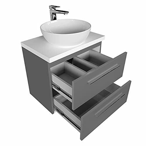 Aufsatzwaschbecken mit Waschtischunterschrank mit Platte 50 60 80 Keramik Oval Badmöbel Schubladeschrank Waschbeckenunterschrank (50 cm, Graphit)