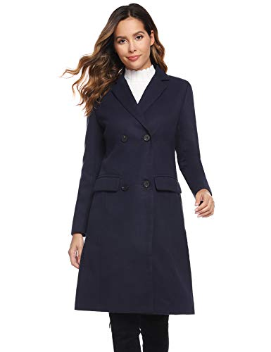 Hawiton Damen Wollmantel mit Reverskragen Blazermantel Schalkragen Klassischer Mantel Eleganter Wintermantel Langmantel mit Pattentaschen für Winter, Navy Blau, XL