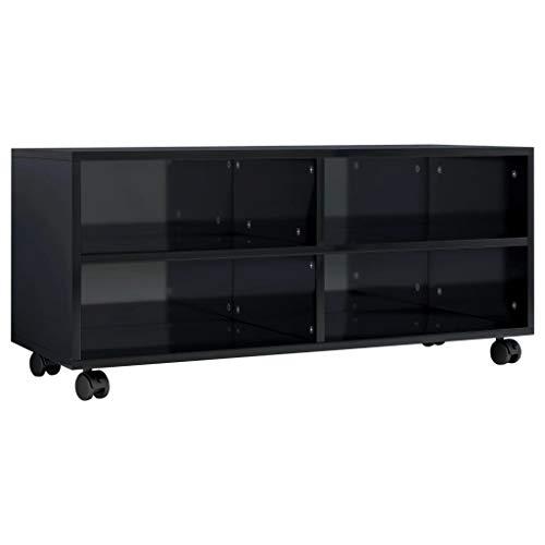 vidaXL Mueble TV con Ruedas Aglomerado Negro Brillante 90x35x35cm Mobiliario Accesorios Centro Entretenimiento y Multimedia Diseño Moderno Práctico