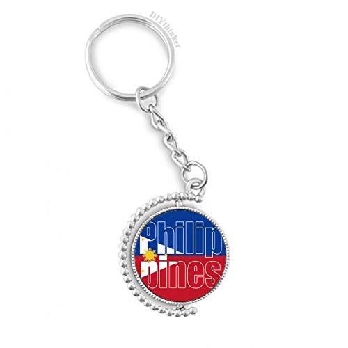 DIYthinker Mannen Filipijnen Land Vlag Naam Draaibare Sleutelhanger Ring Sleutelhouder 1,2 inch x 3,5 inch Multi kleuren