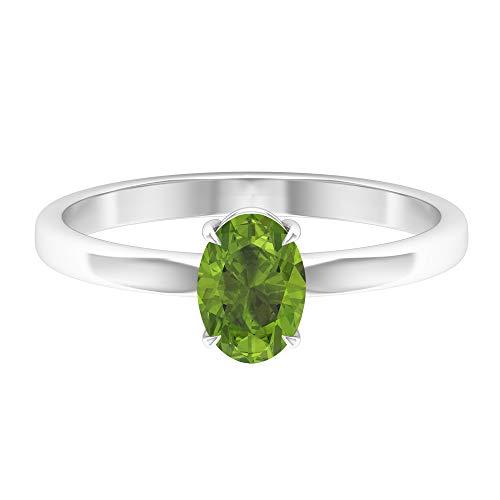 Anillo de promesa de solitario, 0,95 ct, forma ovalada, peridoto de 7 x 5 mm, joyería de piedra natal de agosto, anillo de compromiso ovalado, anillo de boda simple de oro, 14K Oro blanco, Size:EU 65