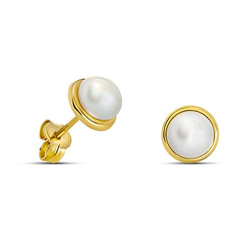 Miore Ohrringe Damen klassische Perlen Ohrstecker mit Weiße Süßwasserperlen aus Gelbgold 9 Karat / 375 Gold, Ohrschmuck
