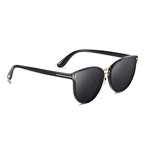 YNJZ Gafas de sol polarizadas redondas Mujeres Hombres Diseño de marca de lujo Gafas de sol de conducción de moda para gafas de sol de mujer para hombres, C1Negro