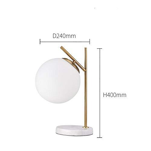 Postmoderne einfache Marmorfuß Tischlampe Nordisches Wohnzimmer Home Deco Glaskugel Schreibtischlampe Schlafzimmer Nachttischlampe Einfache Tafellampe A.