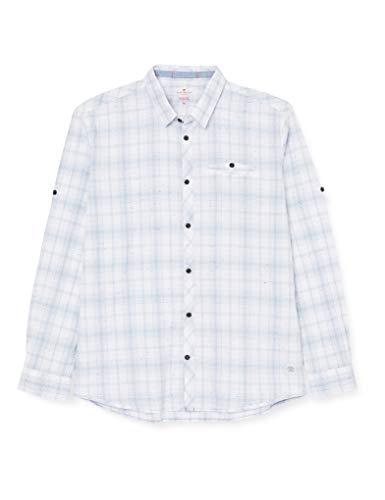 TOM TAILOR Herren Baumwoll Hemd Freizeithemd, Blau (White Blue NEP Check 16874), M