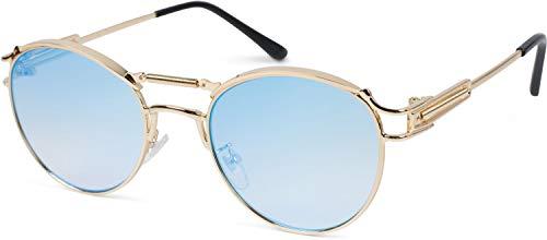 styleBREAKER Damen Panto Sonnenbrille mit ovalen Flachgläsern und Metall Bügel, Federn, Silikon Nasenauflage 09020117, Farbe:Gestell Gold/Glas Blau-Rosa verspiegelt