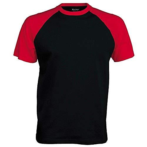 Kariban–Camiseta de manga corta para hombre negro / rojo Large
