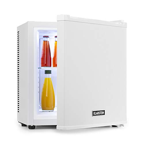 Klarstein Secret Cool mini nevera mini bar - Clase A+, 13 litros, 45 cm de altura, 0 dB, silenciosa, sin ningún tipo de ruido, enfría entre 5 y 8 °C, nevera de bebidas, Minibar, blanco