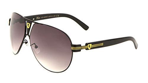 KHAN Valve - Rounded Modern Aviators Sunglasses (Yellow Black)