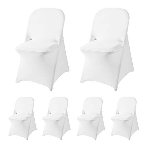 Ascoza 6 Pack White Spandex Folding Chair Covers in Stretch Washable Fabric for Wedding, Party,Holidays,Celebration and Other Special Events